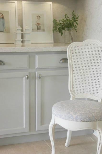 Romantic modern farmhouse kitchen with light grey cabinets - Hello Lovely Studio