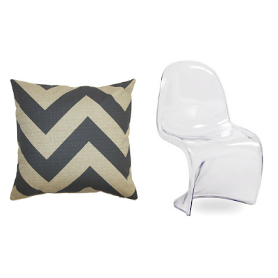 grey white chevron cushion and medan chair