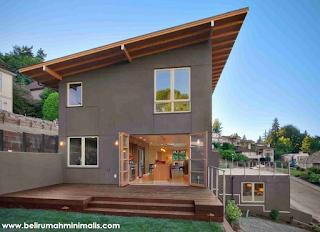 Warna coklat tua rumah minimalis bagian luar