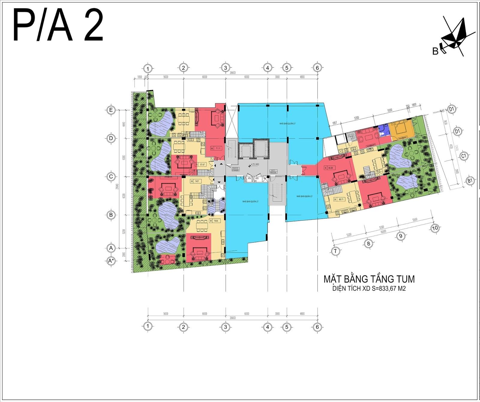 Mặt bằng tầng tum chung cư Núi Trúc Square Hà Nội