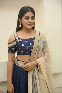 Niveda Thomas in Lovely Blue Cold Shoulder Ghagra Choli Transparent Chunni ~  Exclusive Celebrities Galleries 069