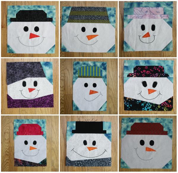 Snowmen quilt blocks | DevotedQuilter.blogspot.com