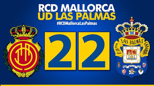 Marcador final RCD Mallorca 2-2 UD Las Palmas