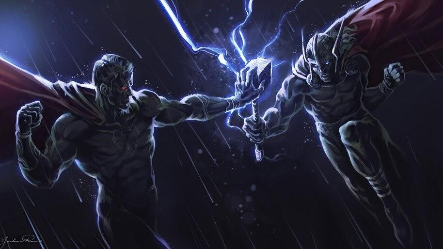Superman vs. Thor, Marvel, DC, Superheroes, 4K, #6.1176