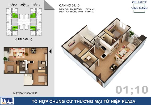 Thiết kế căn hộ 01 và 10, diện tích 65m2 thông thủy (02 phòng ngủ)