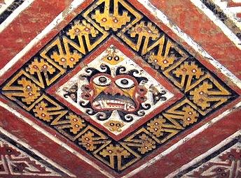 Pintura plasmado en mural de la cultura Mochica