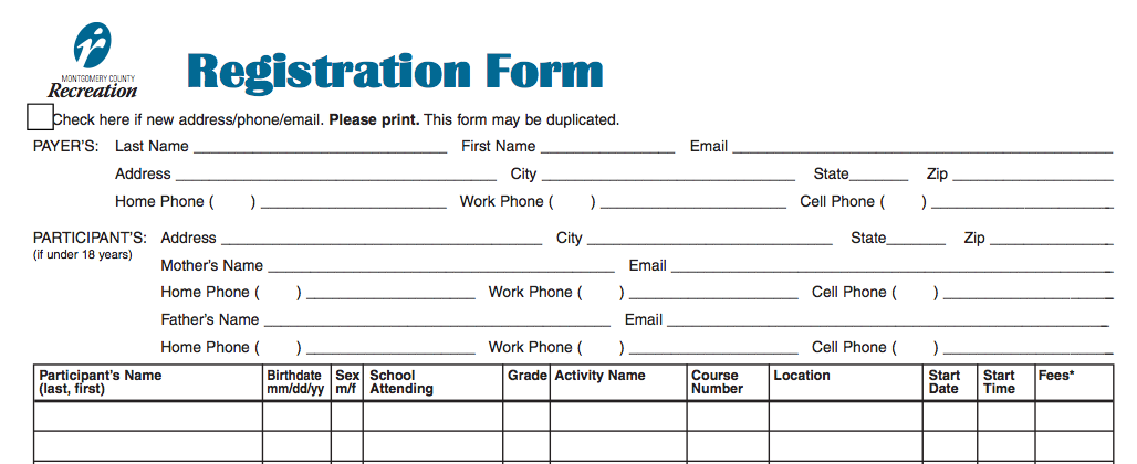 high school registration form template Template – Sample School Registration Form
