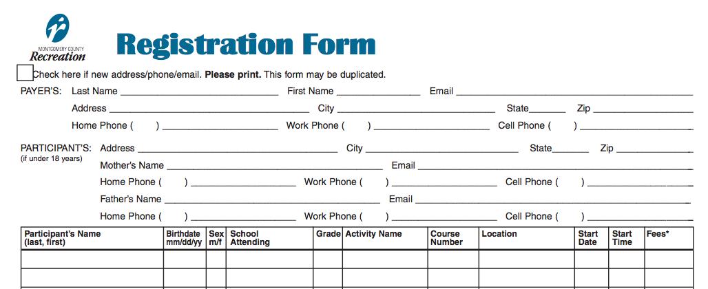 Doc10201320 Registration Form Word Template Workshop – Sample School Registration Form