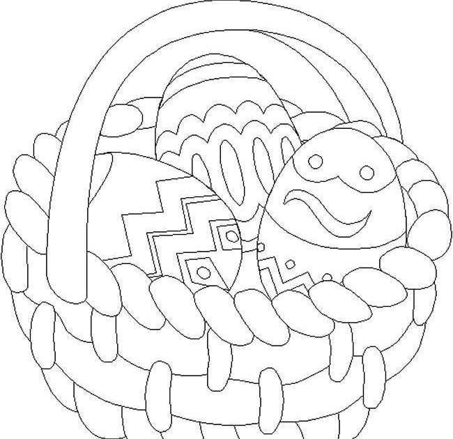 Mrs Bunny With A Basket Of Easter Eggs Coloring Page: Easter Egg Basket Coloring Pages