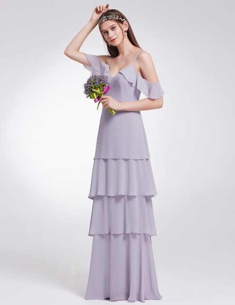 Off Shoulder Long V Neck Bridesmaid Dress (Price: $24.99)