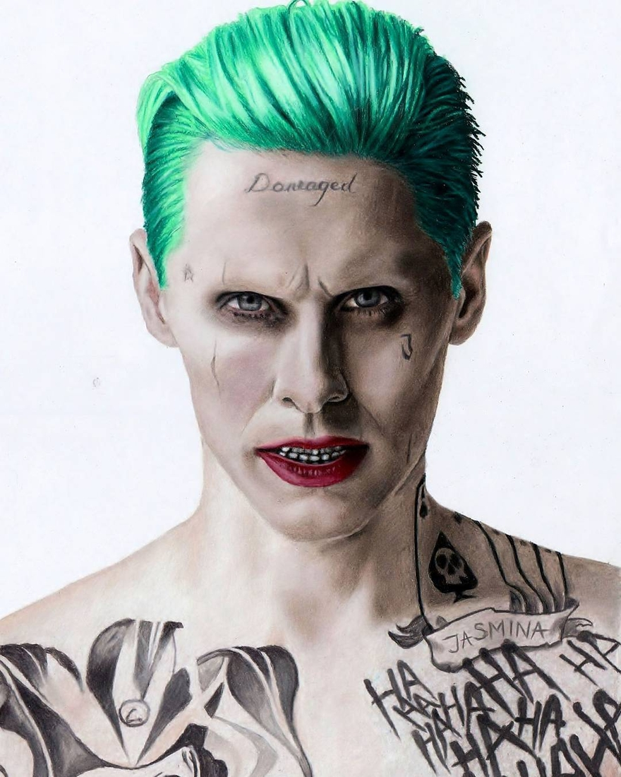14-Jared-Leto-as-The-Joker-in-Suicide-Squad-Jasmina-Susak-Superheroes-and-Villains-in-2d-and-3d-Drawings-www-designstack-co