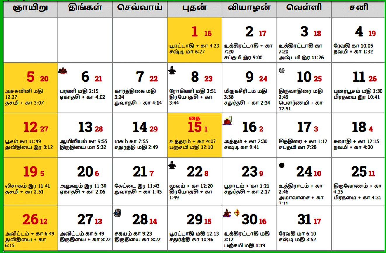Tamil Monthly Calendar 2020 January 2020 Monthly Tamil Calendar
