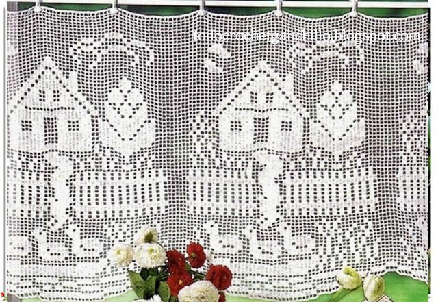 cortina crochet filet con motivo de casa con cerco y patos