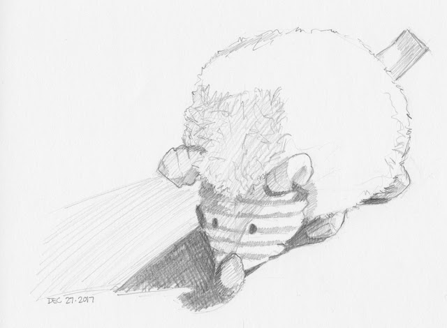 Daily Art 12-27-17 still life sketch in graphite number 85 - new hedgehog toy