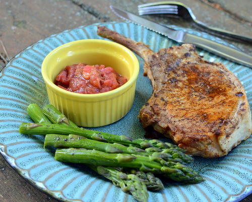Juicy Pork Chops ♥ KitchenParade.com, my favorite brine for pork chops, adding moisture and flavor to pork that's bred, these days, for leanness. Low Carb. Naturally Gluten Free. Weight Watchers Friendly.