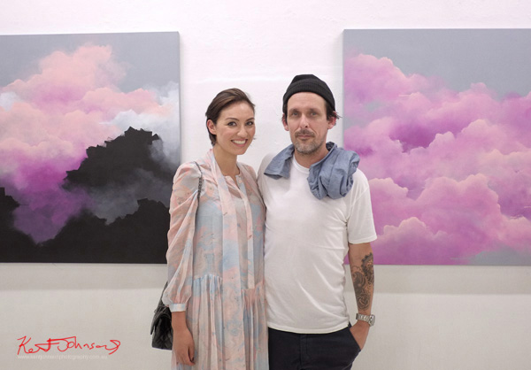Brooklyn Whelan with his wife at Heavy Weather a group show at China Heights Gallery, Sydney, Australia. Photographed by Kent Johnson for Street Fashion Sydney.