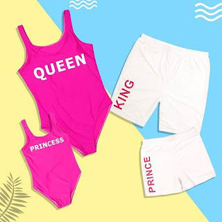Letter Print Solid Color Family Matching Beachwear