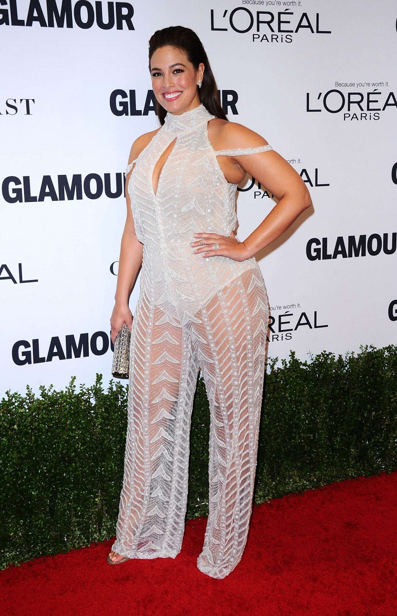 Ashley Graham shows off her phenomenal figure in sheer beaded jumpsuit at Glamour Women Of The Year Awards