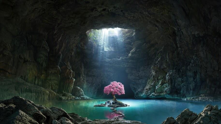 Beautiful, Cherry Blossom, Cave, Lake, Scenery, 4K, #6.446