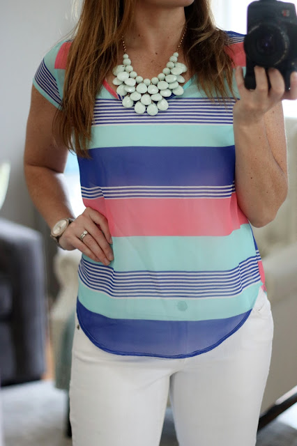 bright colored spring summer top mint coral cobalt