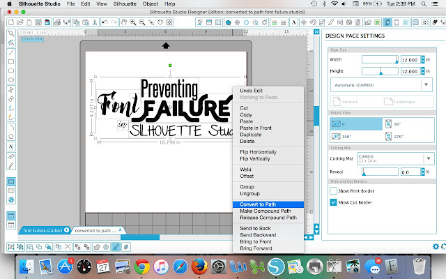 Silhouette Studio, font, font failure, convert to path