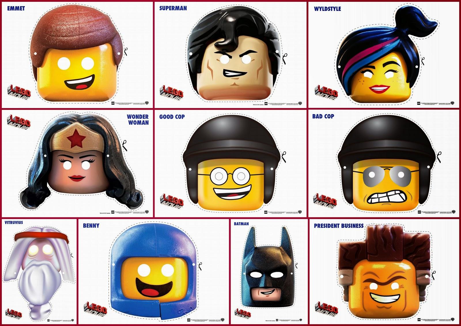 Lego La Película: Máscaras Para Imprimir Gratis.