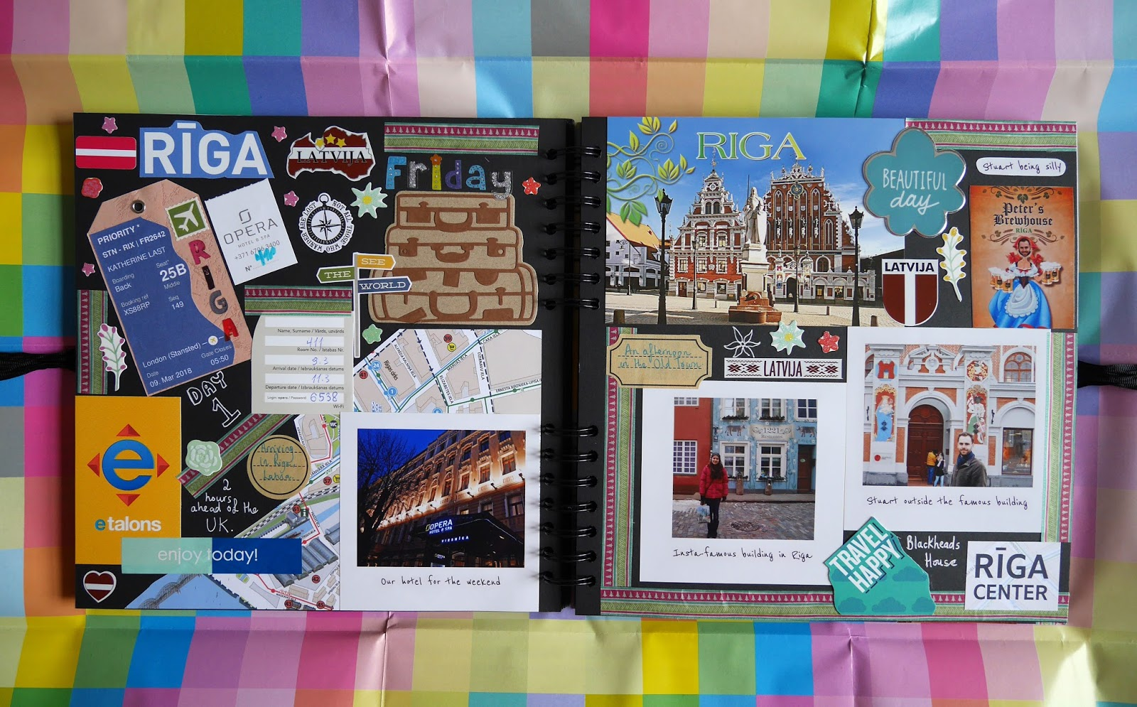 Pages 1 and 2 of the Riga section of my travel scrapbook - arriving in Latvia and exploring Riga's Old Town