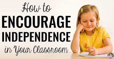 "Student working with text, ""How to encourage independence in your classroom."""
