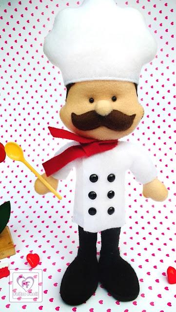 Molde de Cozinheiro e Chef de Cozinha para Artesanato em Feltro