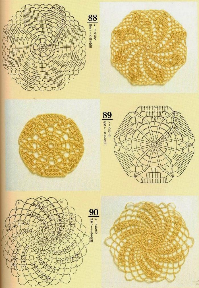 Motivos Circulares em Espiral de Crochê Com Gráficos 05