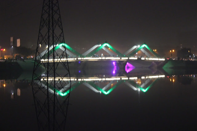 Hatirjheel bridge Green color light