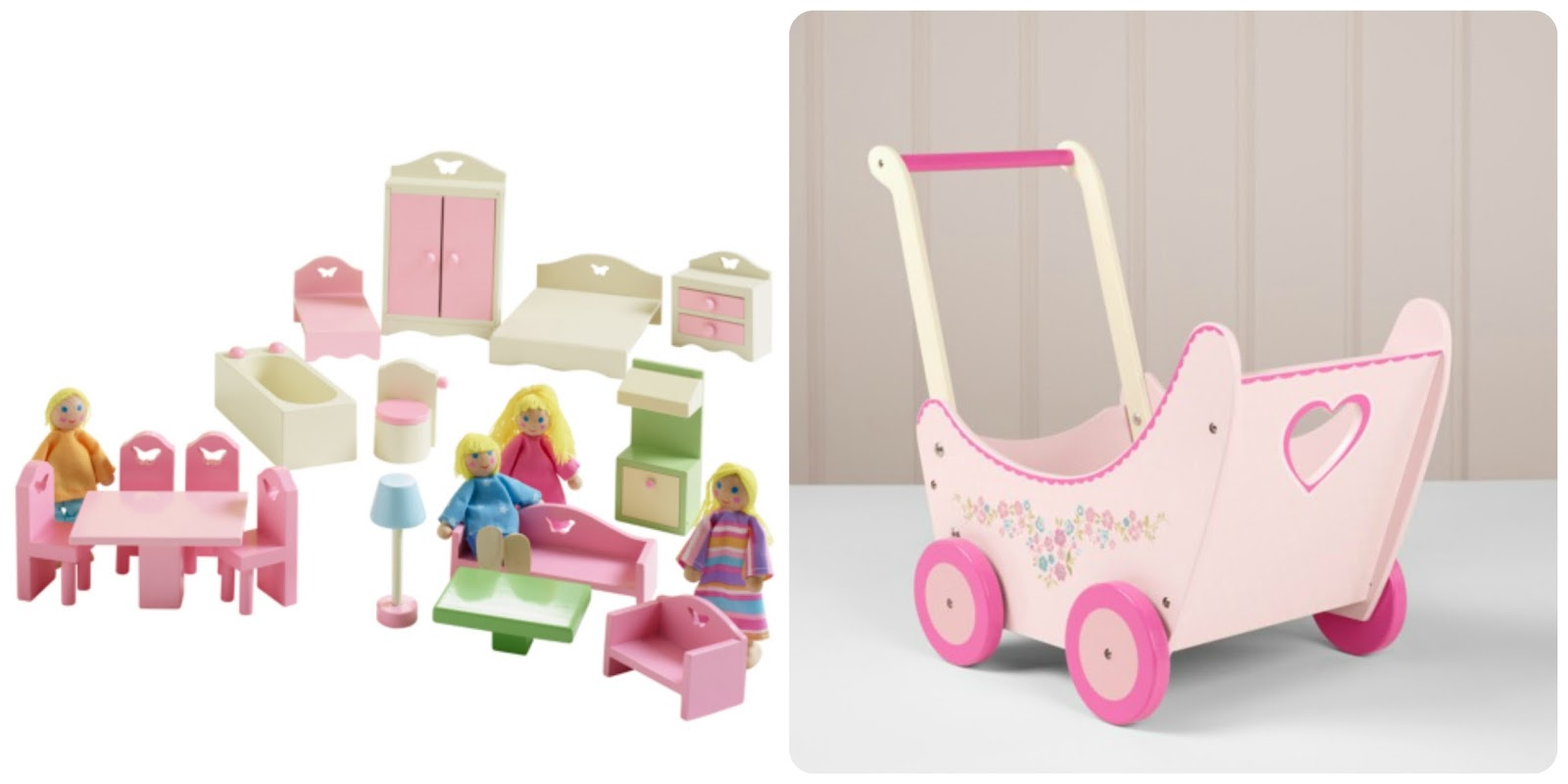 ASDA Wooden Play Dolls House Furniture and Pram