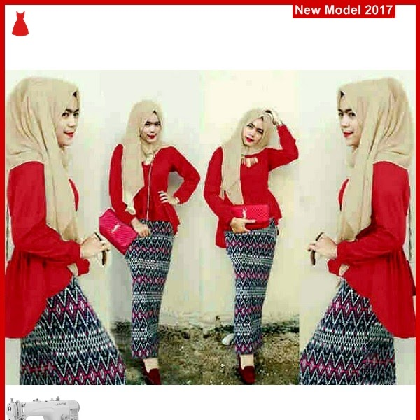 MSF0099 Model Hijab Peplum Tania Tribal Red BMG