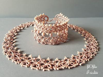 Bracelet BABO et boucles d'oreilles M en frivolité