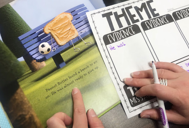 "Mentor Text with Graphic Organizer with text ""Theme"""