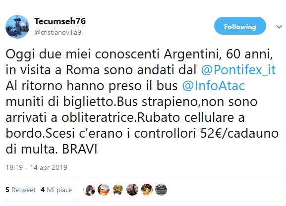 Situazione Trasporto Pubblico Roma lunedì 15 aprile
