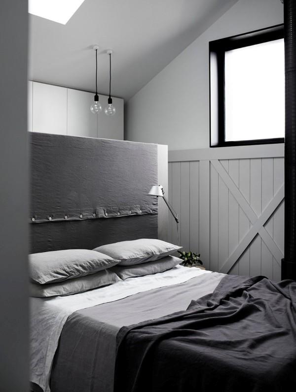 dormitorio con atrezzos de algodon rustico en gris chicanddeco