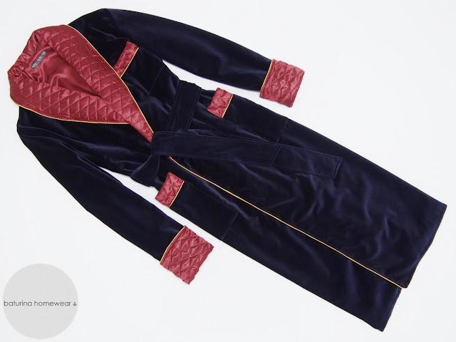 Men's dark navy blue velvet dressing gown in red burgundy gentleman's robe with quilted silk collar warm long