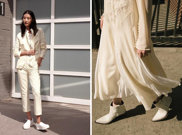 Белый костюм и платье с белой обувью