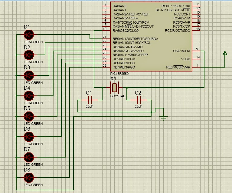Create  Blinking LED Project Using PIC Microcontroller [ PIC18F2550 ]  [step by step ]