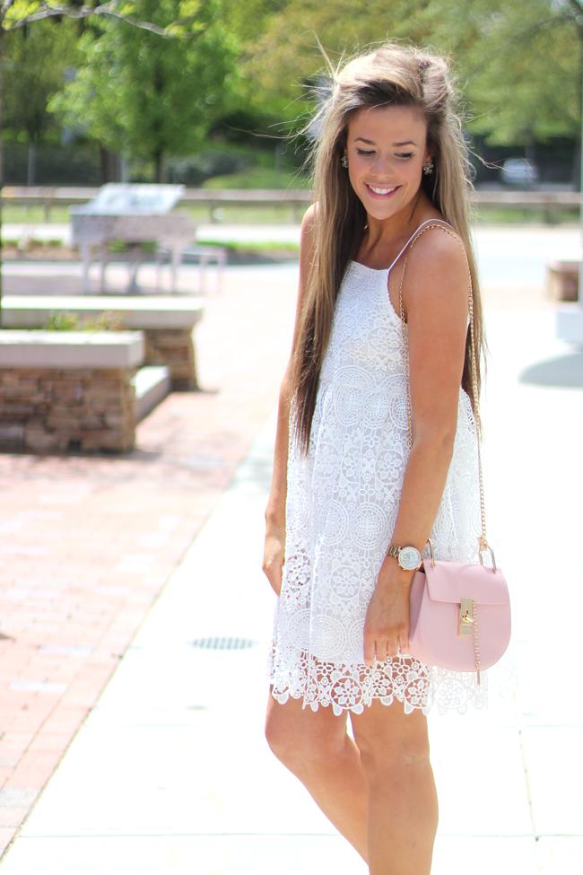 wedding shower white lace dress