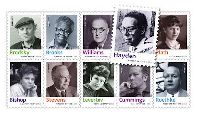 Блок марок с 10 самыми влиятельными поэтами США ХХ века.
