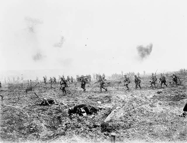 "29th Infantry Batallion advancing over ""No Man's Land"" Vimy Ridge"
