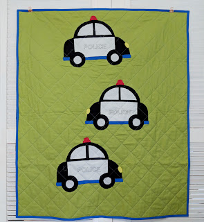 quilted applique police car quilt