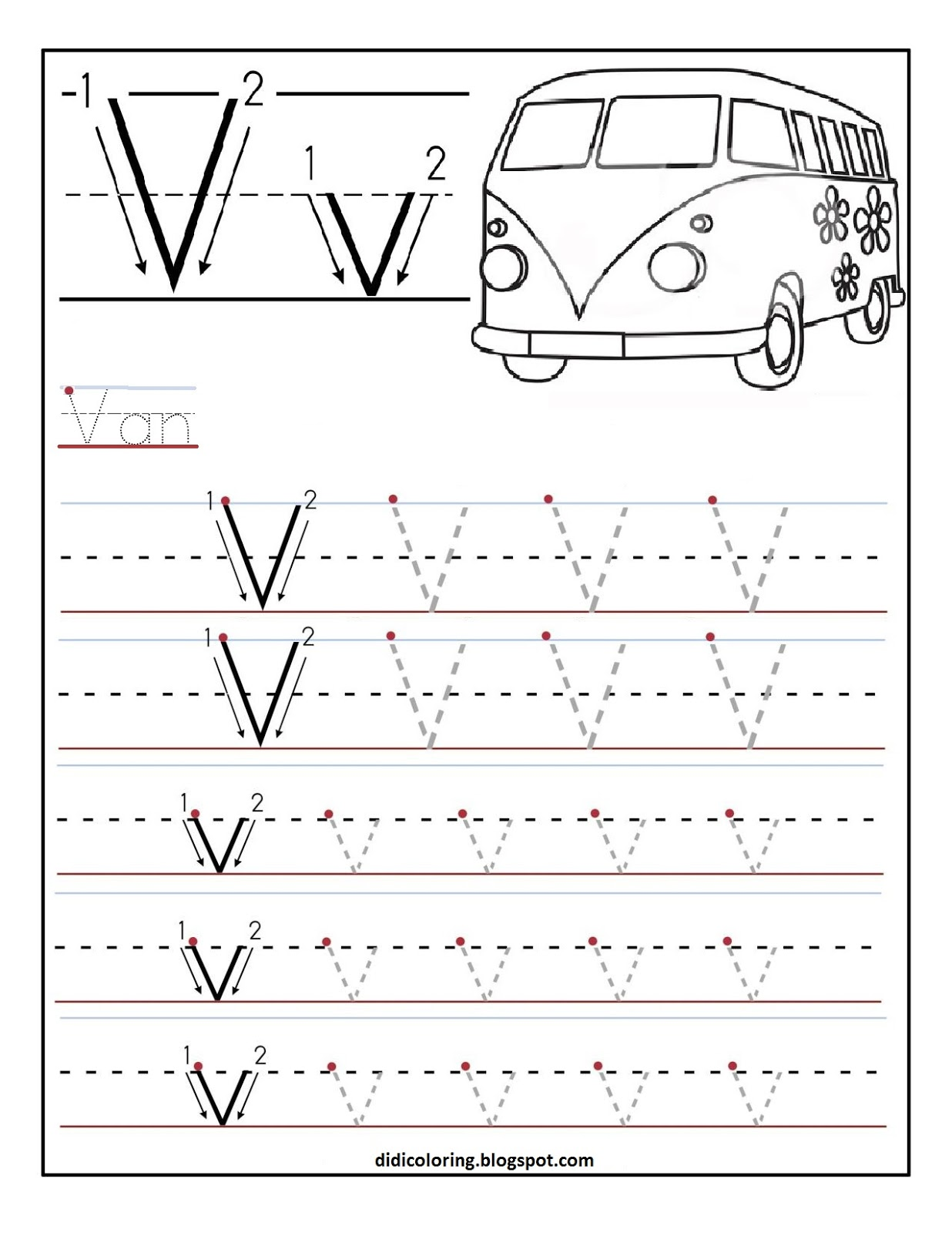 Free Printable Worksheet Letter V For Your Child To Learn And Write