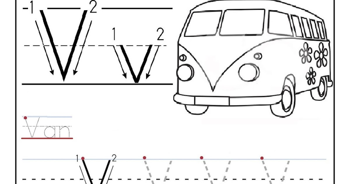 Free printable worksheet letter V for your child to learn and