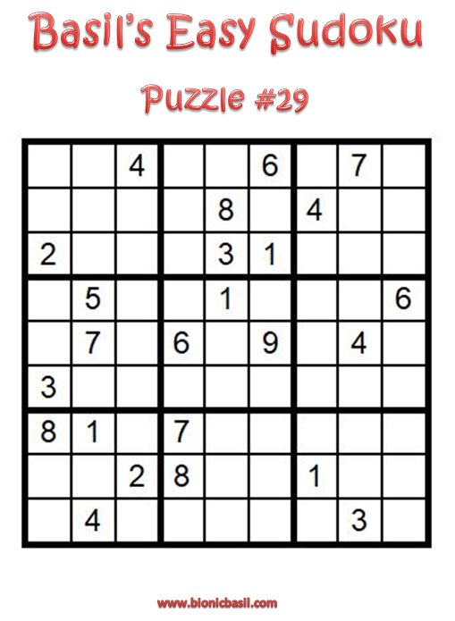 Basil's Easy Sudoku Puzzle #29 Brain Training with Cats ©BionicBasil®