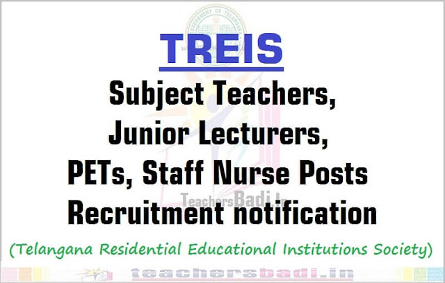 TREIS Teachers,Junior Lecturers,PETs,Staff Nurse Posts recruitment 2016