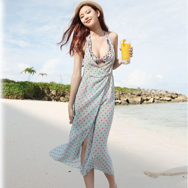 Baju Pantai Dress Polkadot Sexy Terbaru 2016