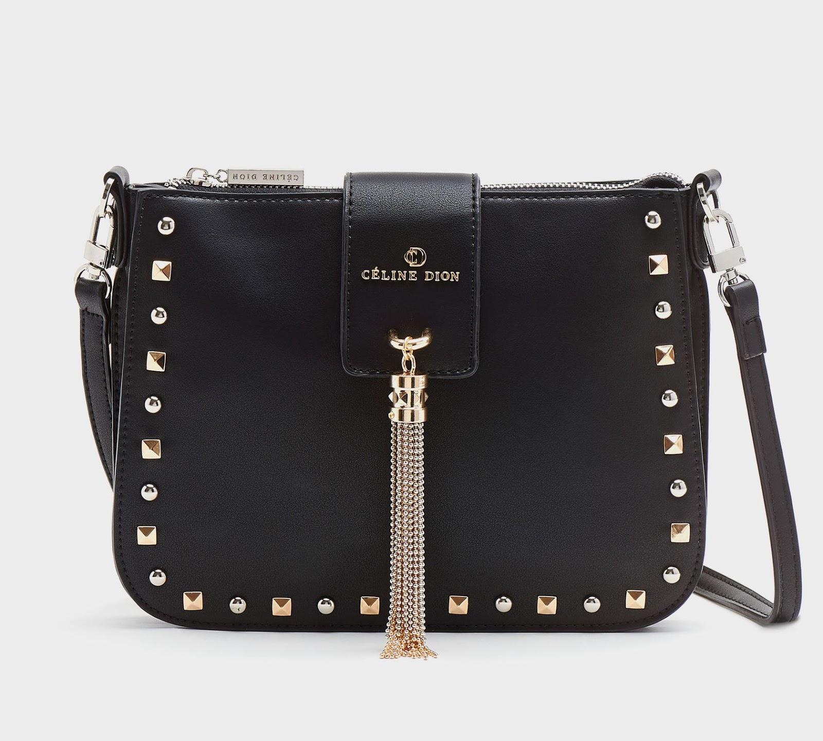 5ec6c973c0e6 Céline Dion – Cadenza Collection Small Square Studded Shiny Faux-Leather  Purse